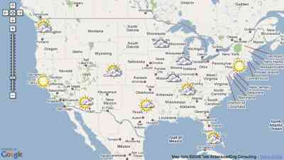 Interactive nationwide weather map