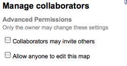 Collaborators pane in My Maps